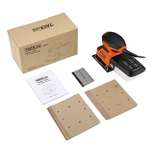 黒+オレンジ 21.9*12.6*11.4cm TACKLIFE サンダー 240W 15000RPM オービタルサンダー 低振_画像7