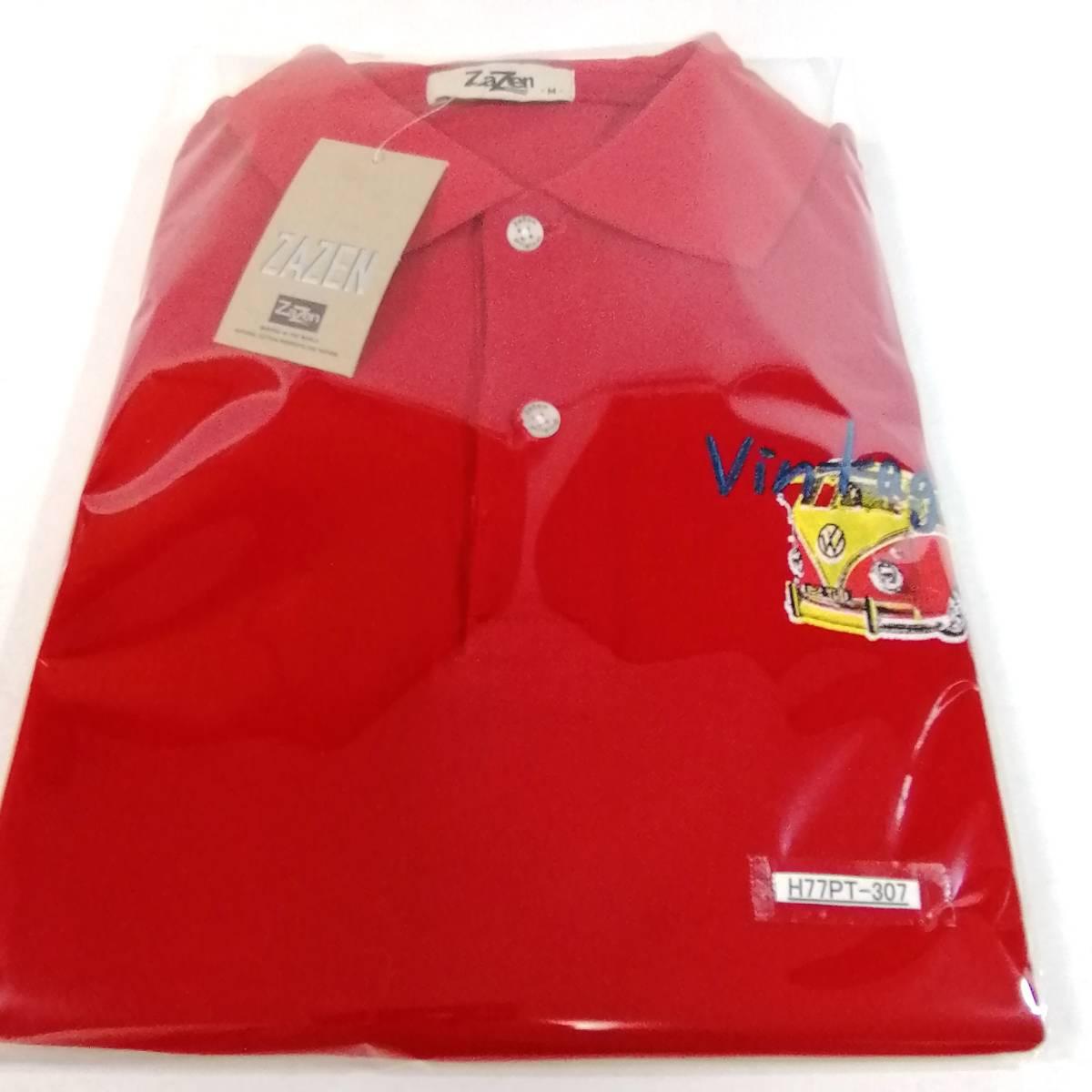 ポロシャツ 未使用 メンズ サイズ M レディース ビンテージ 半袖 柄シャツ プリント コットン 綿 cotton 車 デッドストック H-307