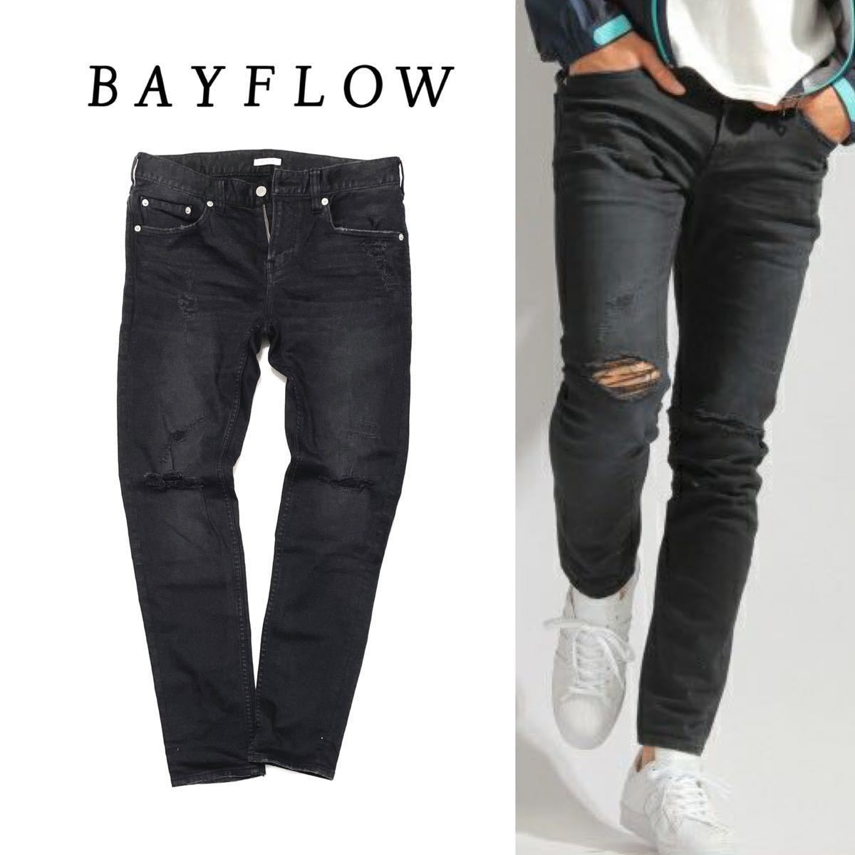 【BAYFLOW】男らしいタフ感デニム◎!!!ベイフロー ブラックデニム クラッシュ加工 テーパ