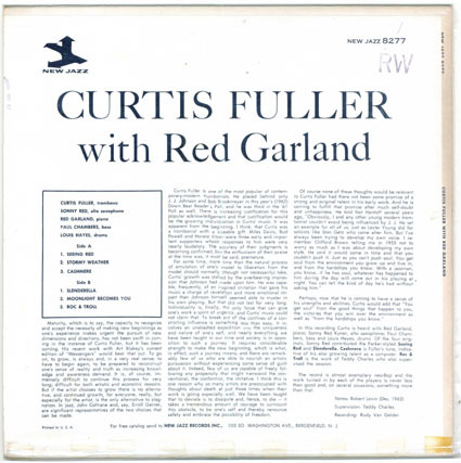 JAZZ RECORD Curtis Fuller With Red Garland Trio NJ 8277/pur(5245f)_画像2