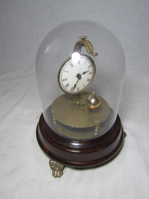 KI レトロ アンティーク 動作品 珍品 ゼンマイ式 球体振り子の 回転置き時計_画像9