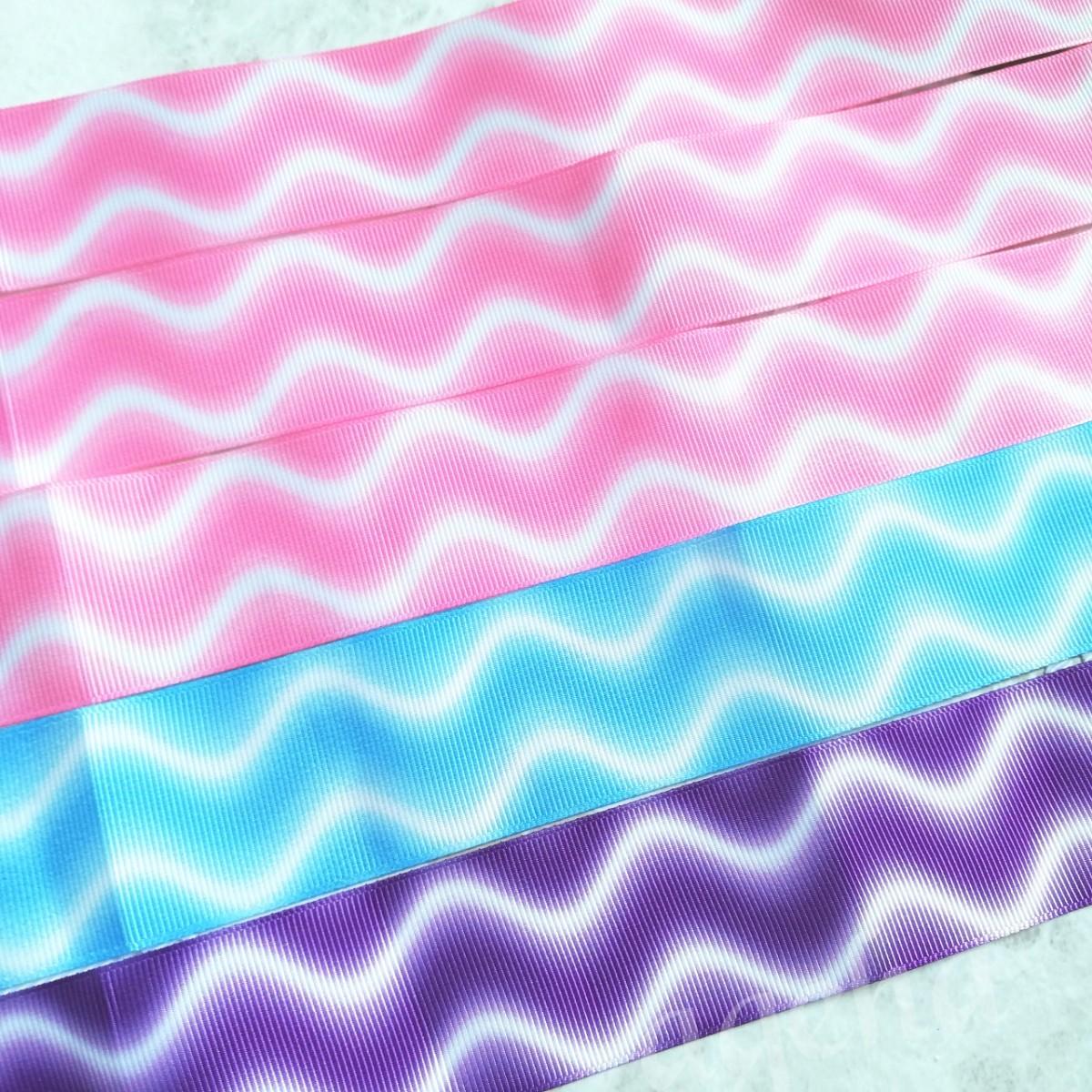 なみなみ柄 ピンク 水色 紫 パープル グログランリボン 38mm