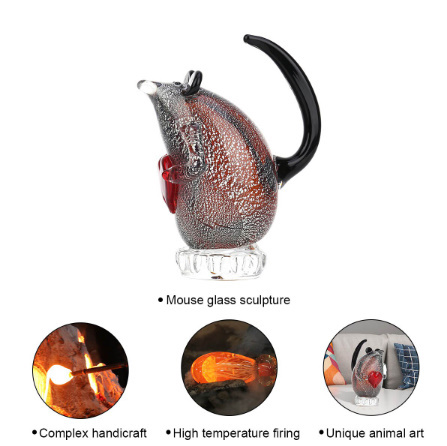 k1256 ガラスのネズミの置き物 マウス ガラス 動物 家の装飾 ギフト ハート_画像5