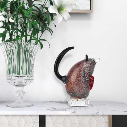 k1256 ガラスのネズミの置き物 マウス ガラス 動物 家の装飾 ギフト ハート_画像6