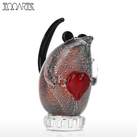 k1256 ガラスのネズミの置き物 マウス ガラス 動物 家の装飾 ギフト ハート_画像1