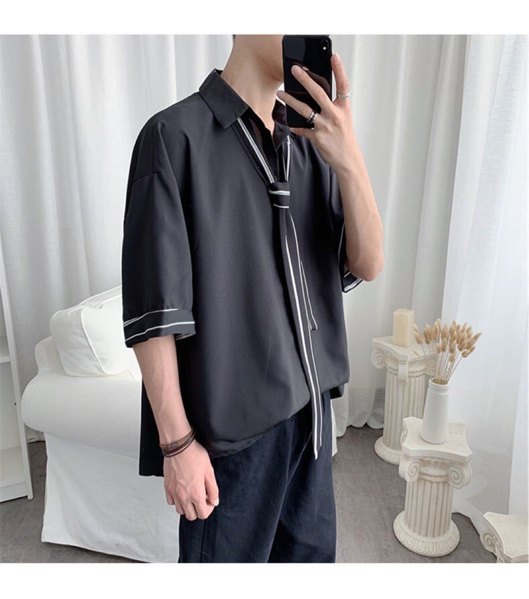 シャツ タイ付き ビッグシルエット トップス 半袖 黒 XL dhp3wt