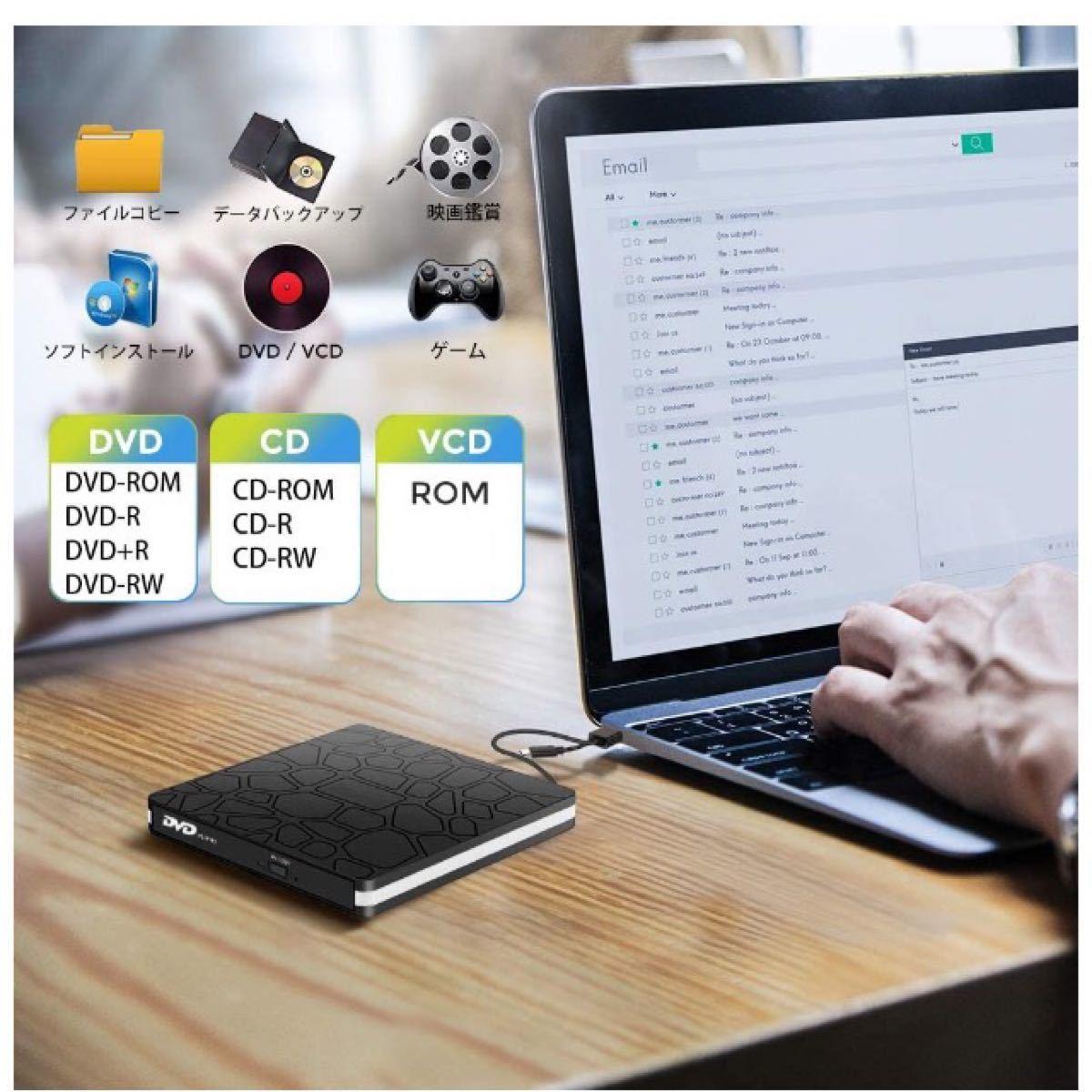 USB3.0 Type C 外付け DVDドライブ CD/DVDプレーヤー