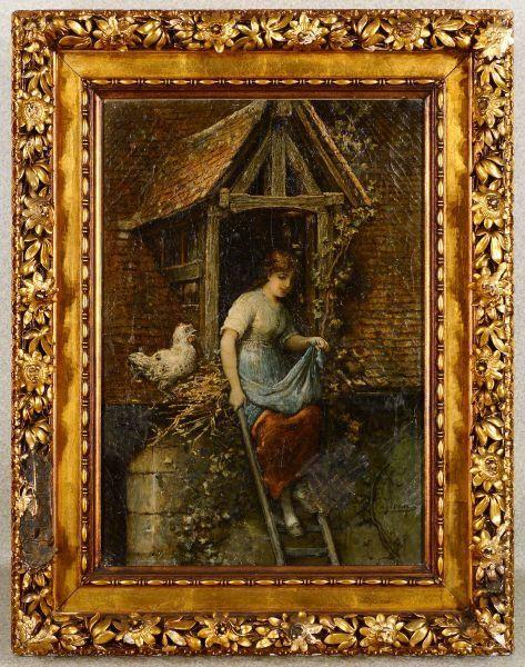 作者不詳 「農家の女性」 額装15号大 サインはありますが判読不明、作品の内容は抜群、かなりレベルの高い泰西名画です