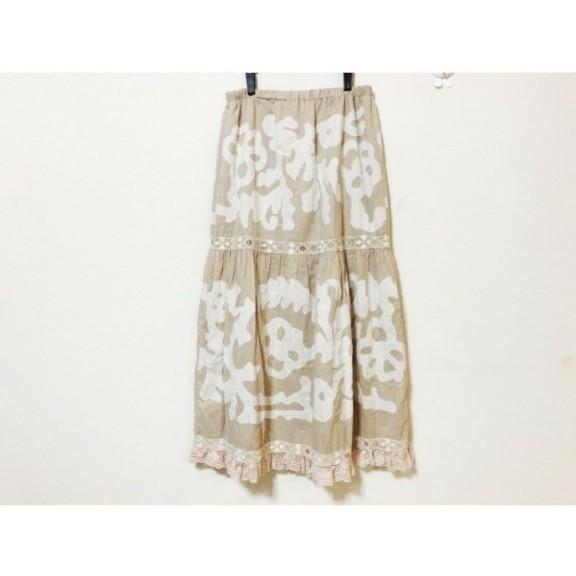 グレースコンチネンタルダイアグラム花柄刺繍レースギャザーロングティアードスカート