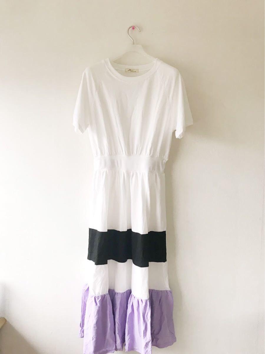 【数量限定】バイカラー Tシャツ マキシ丈ワンピース 半袖ワンピース 韓国