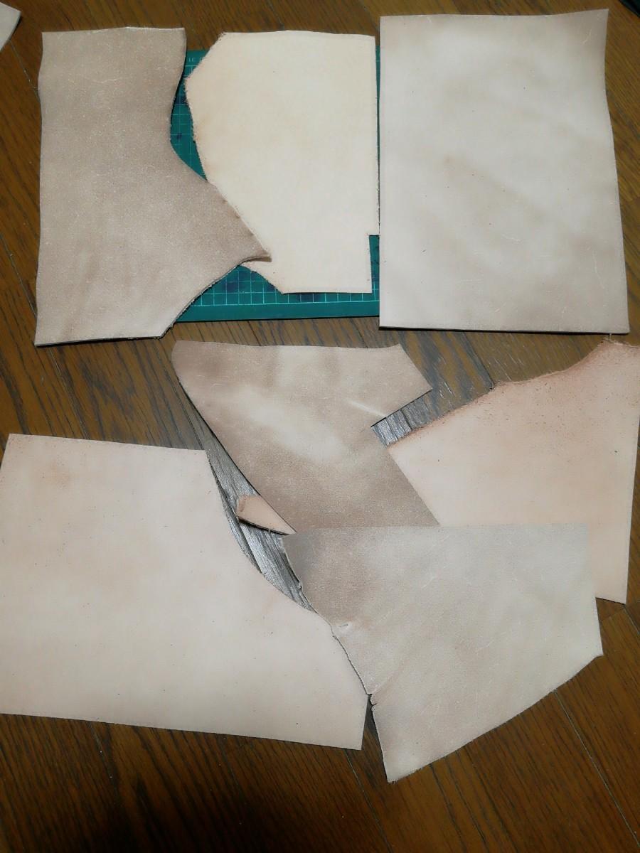 【レザークラフト用】ヌメ革の床革A4サイズ他端切れセット