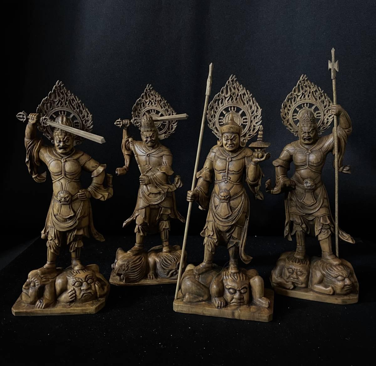 最新作 仏教工芸品 総柘植材 時代彫刻 古美術 木彫仏教 精密彫刻 仏師で仕上げ品 四天王像 一式