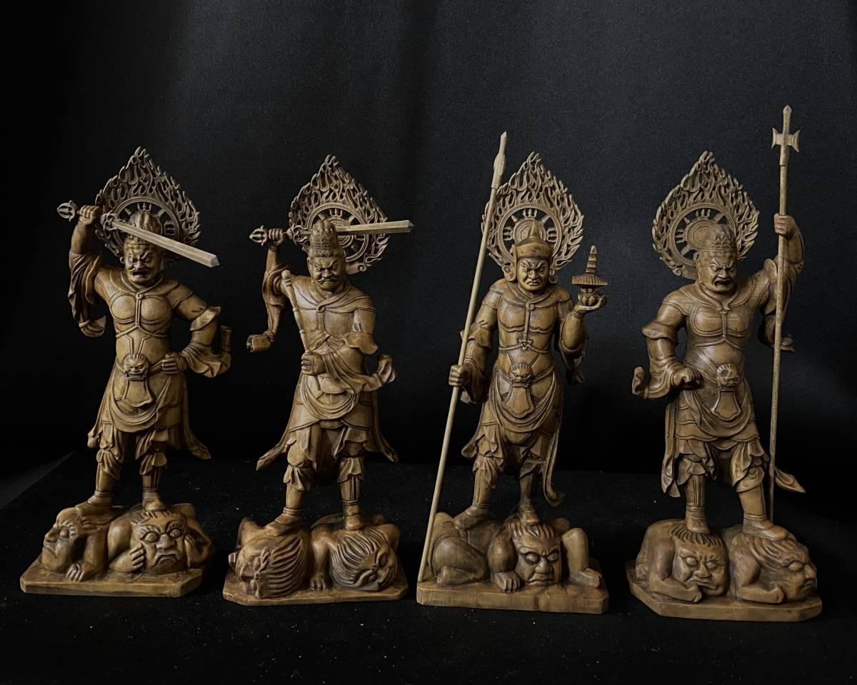 最新作 仏教工芸品 総柘植材 時代彫刻 古美術 木彫仏教 精密彫刻 仏師で仕上げ品 四天王像 一式 その1
