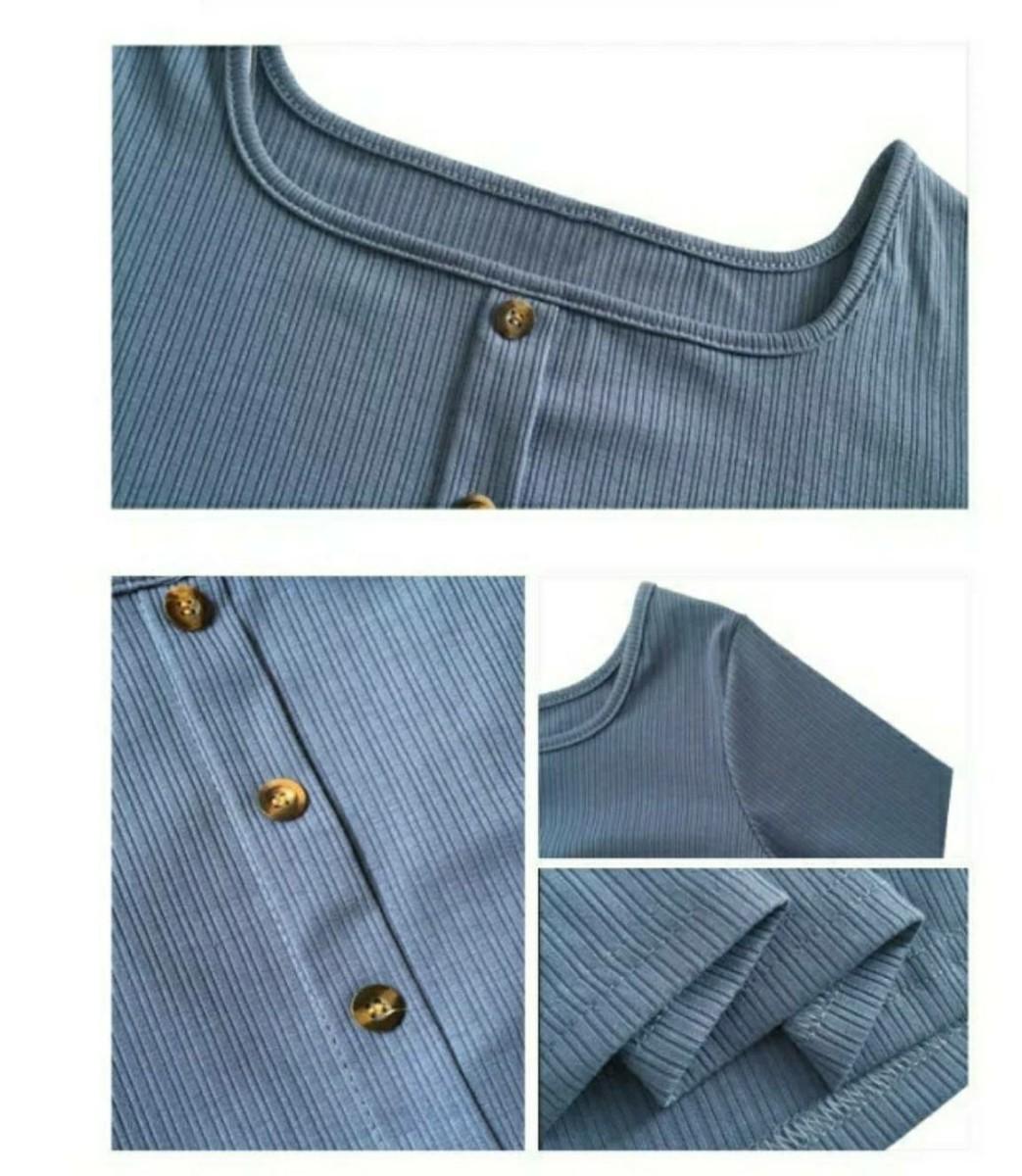 リブニット フロントボタン カットソー レディース トップス Tシャツ オフィス
