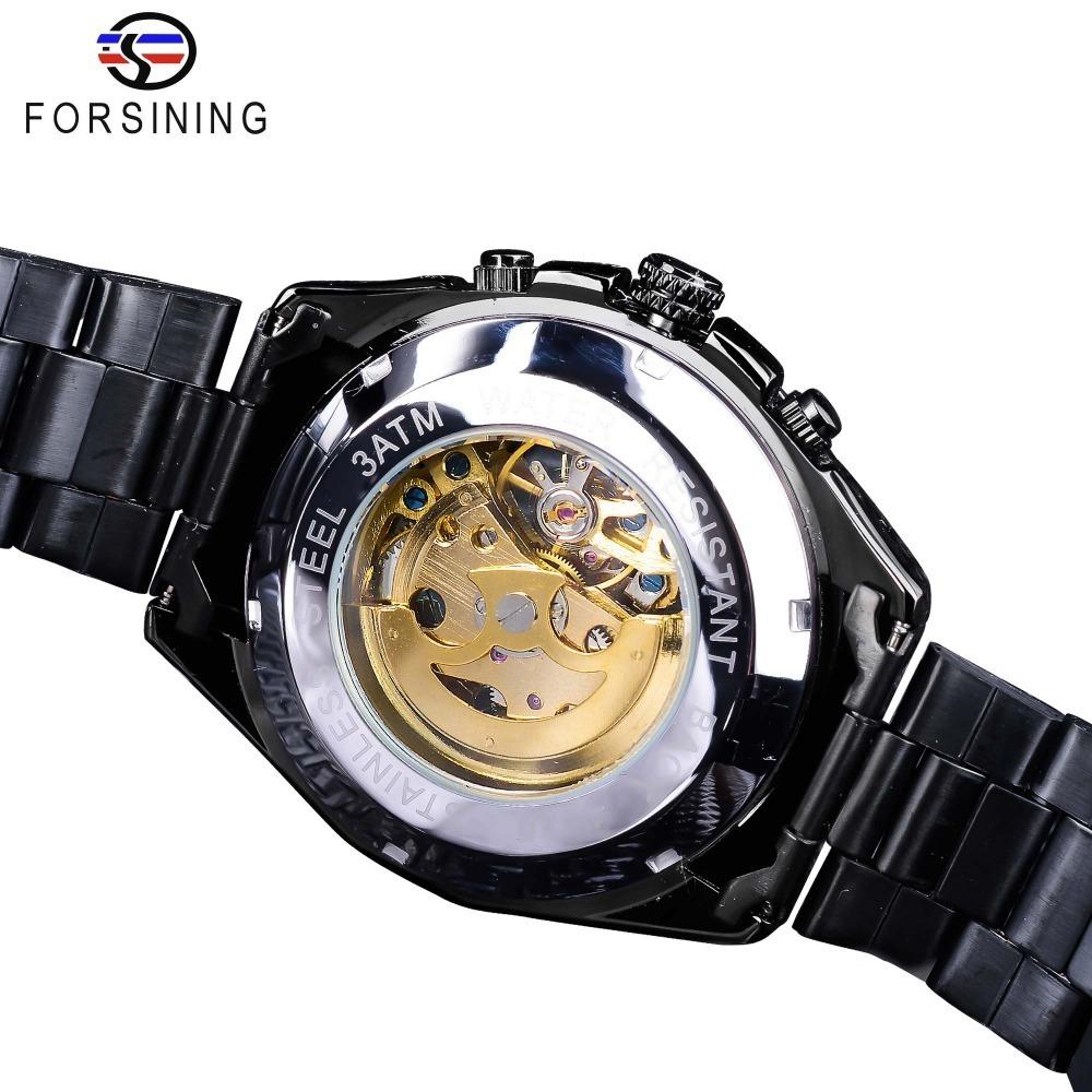 【送料無料】メンズ腕時計 43mm 機械式 自動巻き 多機能 カレンダー 曜日表示 男性ウォッチ 夜光 防水 ファション ブラック_画像3