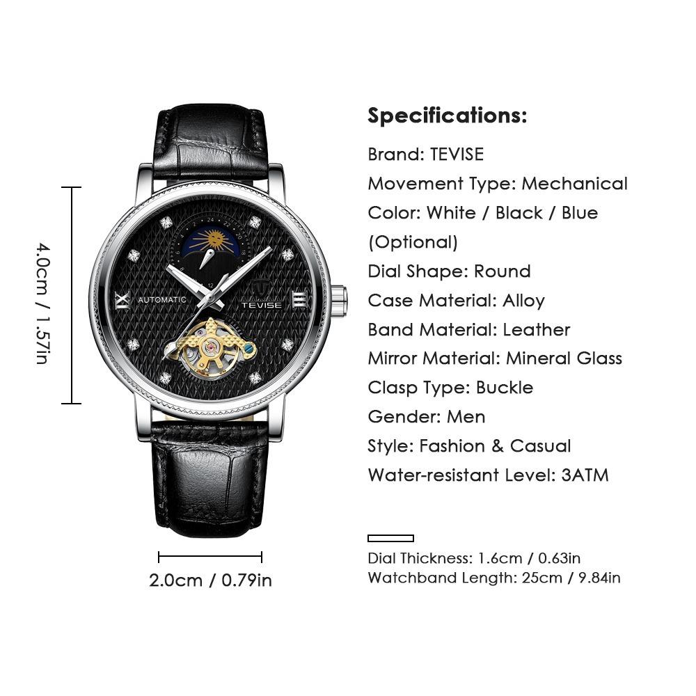 【送料無料】メンズ高級腕時計 機械式 自動巻 トゥールビヨン ムーンフェイズ表示 本革ベルト 紳士 ビジネス 夜光 防水 ブラック_画像5
