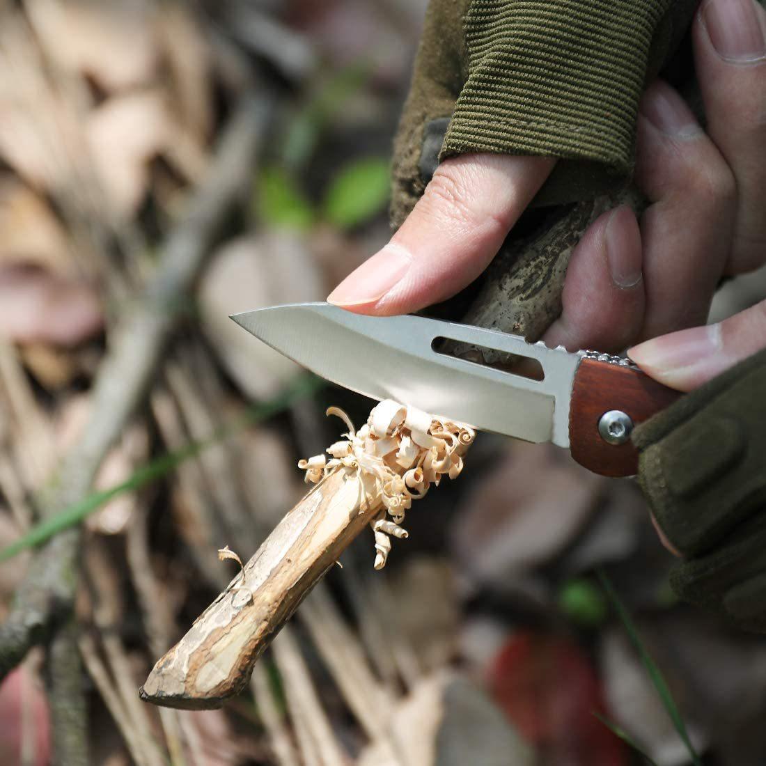 【送料無料】MOSSY OAK 折りたたみナイフ フォールディングナイフ 木製ハンドル ライナーロック付き アウトドア キャンプ 茶色 ブラウン