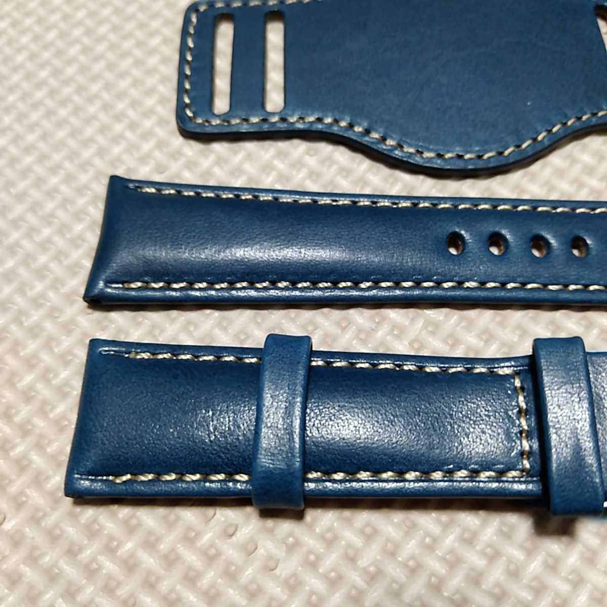 No70 ブンド BUND 本革レザーベルト 腕時計ベルト 交換用ストラップ ブルー 21mm 未使用 Dバックル 高品質 ドイツパイロット 空軍_画像2