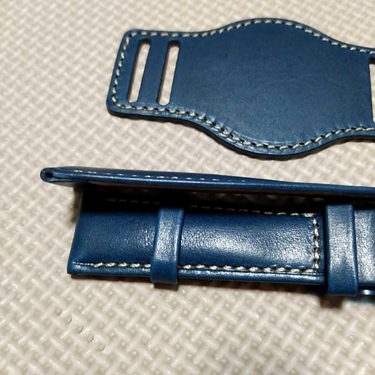 No70 ブンド BUND 本革レザーベルト 腕時計ベルト 交換用ストラップ ブルー 21mm 未使用 Dバックル 高品質 ドイツパイロット 空軍_画像7