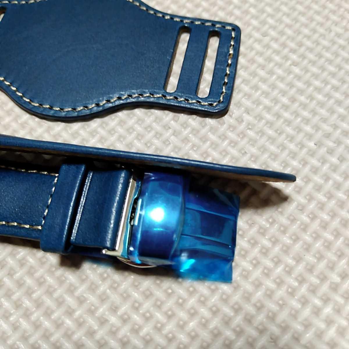 No70 ブンド BUND 本革レザーベルト 腕時計ベルト 交換用ストラップ ブルー 21mm 未使用 Dバックル 高品質 ドイツパイロット 空軍_画像8