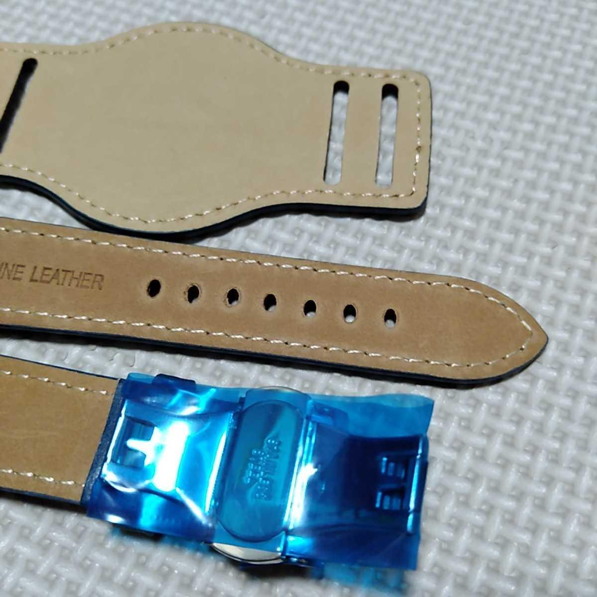 No70 ブンド BUND 本革レザーベルト 腕時計ベルト 交換用ストラップ ブルー 21mm 未使用 Dバックル 高品質 ドイツパイロット 空軍_画像6