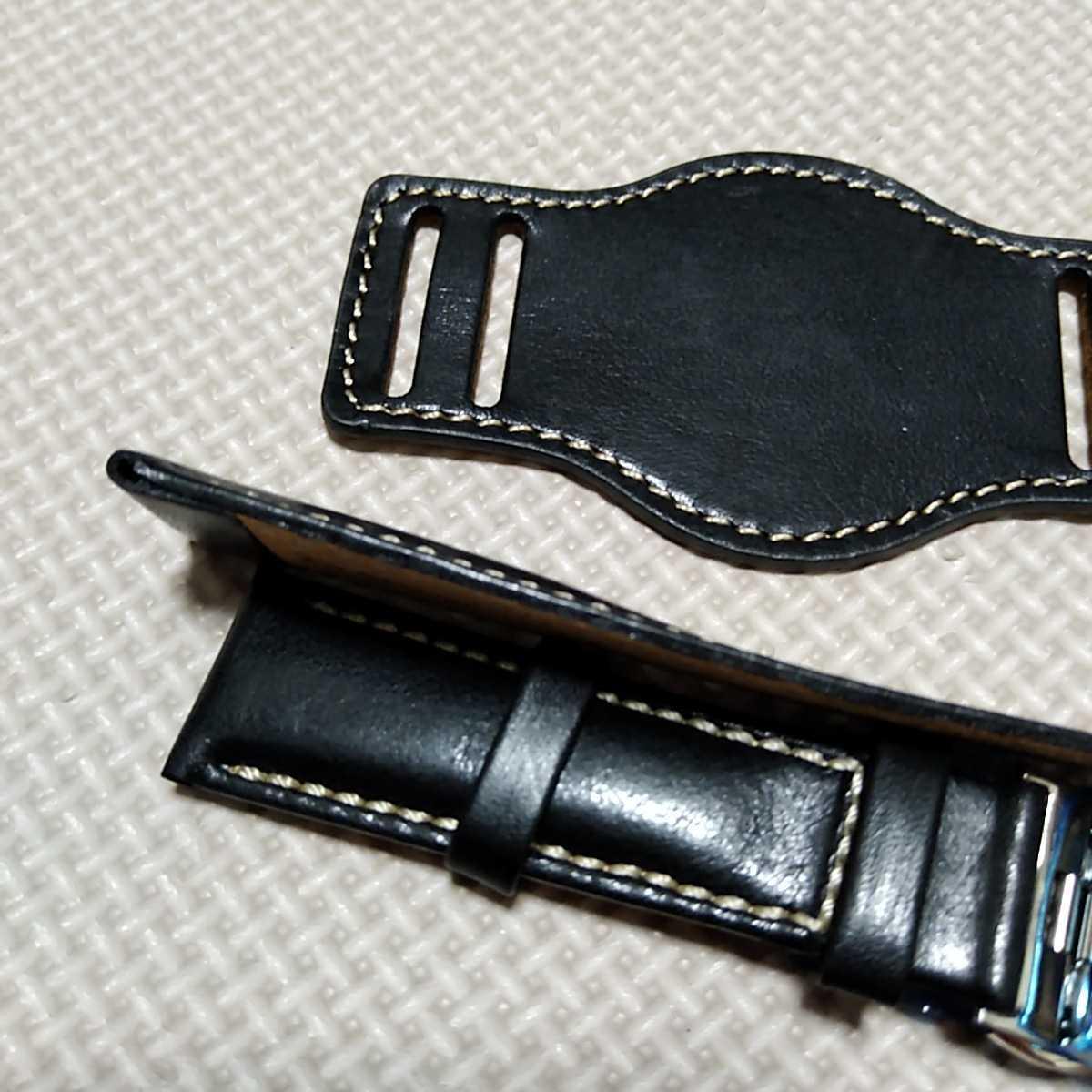 No71 ブンド BUND 本革レザーベルト 腕時計ベルト 交換用ストラップ ブラック 21mm 未使用 Dバックル 高品質 ドイツパイロット 空軍_画像6