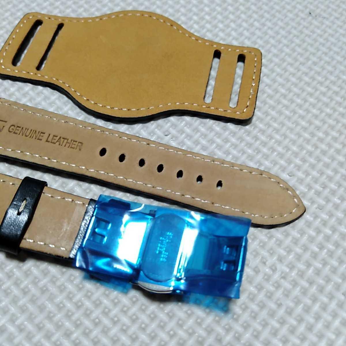 No71 ブンド BUND 本革レザーベルト 腕時計ベルト 交換用ストラップ ブラック 21mm 未使用 Dバックル 高品質 ドイツパイロット 空軍_画像5
