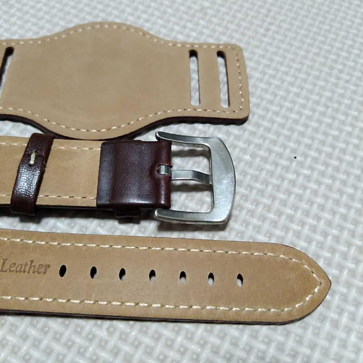 No50 ブンド BUND 本革レザーベルト 腕時計ベルト 交換用ストラップ ブラウン 22mm 未使用 高品質 ドイツパイロット 空軍_画像6