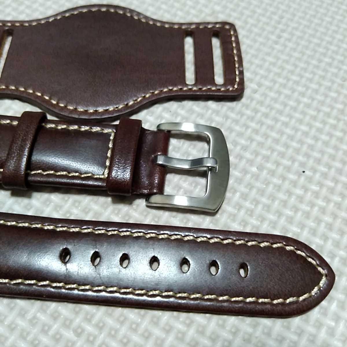 No50 ブンド BUND 本革レザーベルト 腕時計ベルト 交換用ストラップ ブラウン 22mm 未使用 高品質 ドイツパイロット 空軍_画像3