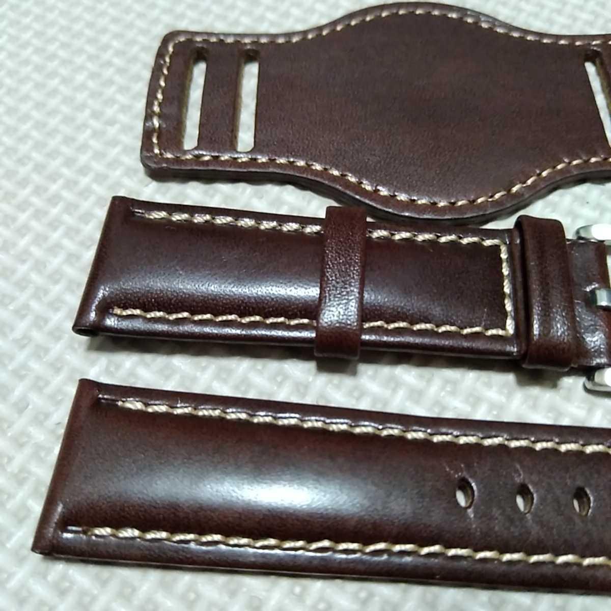 No50 ブンド BUND 本革レザーベルト 腕時計ベルト 交換用ストラップ ブラウン 22mm 未使用 高品質 ドイツパイロット 空軍_画像2