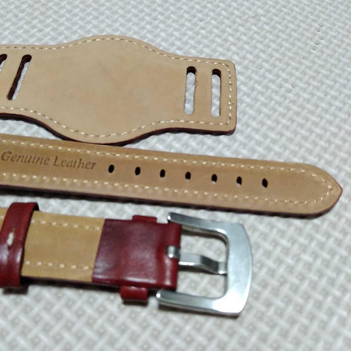 No54 ブンド BUND 本革レザーベルト 腕時計ベルト 交換用ストラップ レッド 18mm 未使用 高品質 ドイツパイロット 空軍_画像7