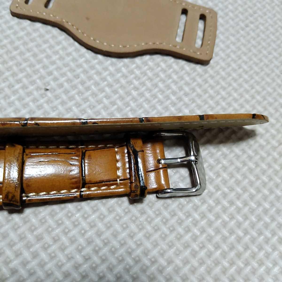 No55 ブンド BUND 本革レザーベルト 腕時計ベルト 交換用ストラップ ブラウン クロコ型押し 20mm 未使用 高品質 ドイツパイロット 空軍_画像8