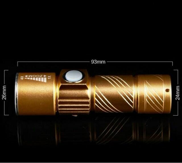 アウトドアで★強力軍用USB充電式★懐中電灯led 防水 携帯 防災  ゴールド