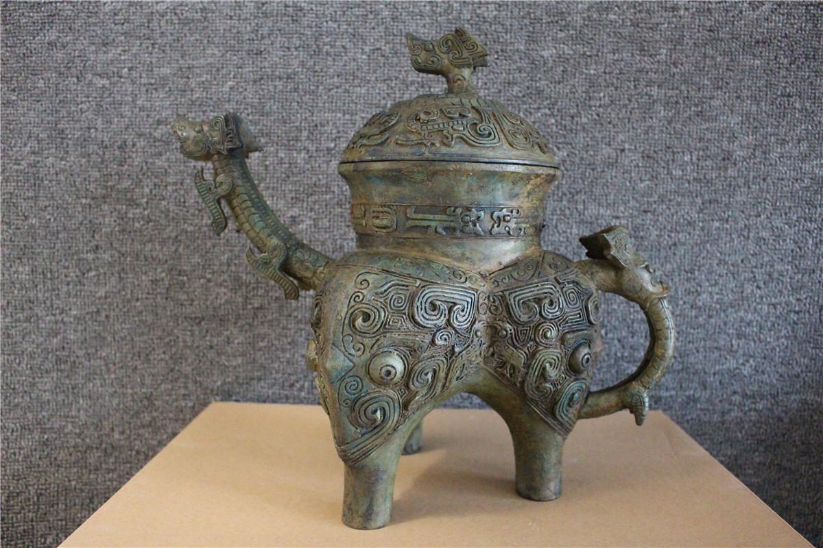 古美術品 西周 青銅器銘文三足壷_画像1