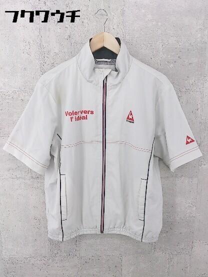 ◇ le coq sportif ルコックスポルティフ ロゴ 刺繍 長袖 ジップアップ ジャケット サイズM グレー レッド メンズ_画像3