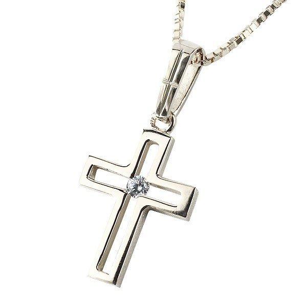 メンズ クロス ネックレス プラチナ ペンダント ダイヤモンド 一粒 pt900 チェーン 十字架 人気 透かし つや消し シンプル 送料無料_画像1
