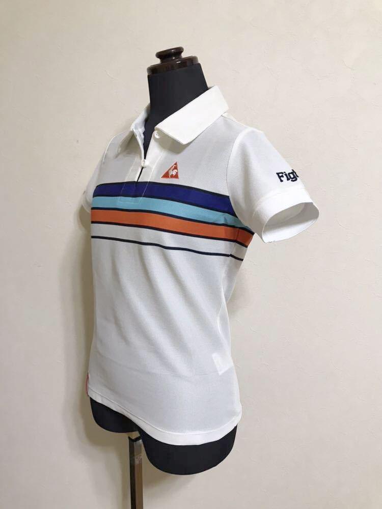 le coq sportif GOLF COLLECTION Smart Fit ルコック ゴルフ ウェア レディース ドライ ポロシャツ サイズM 半袖 白 QGL1866_画像6