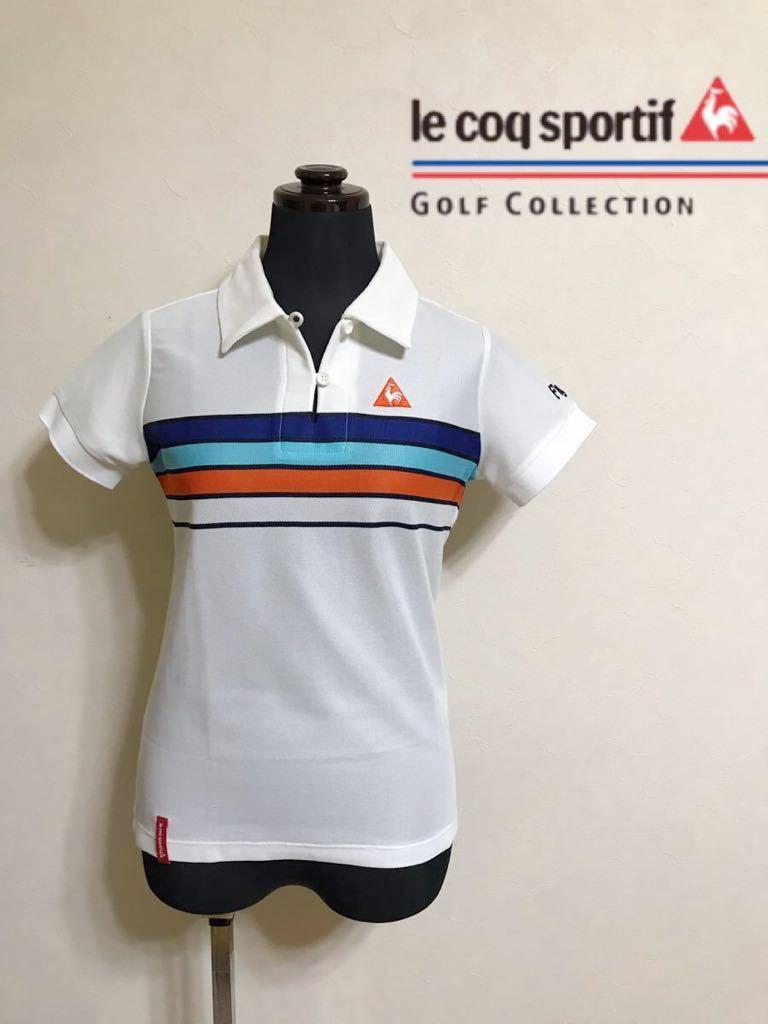 le coq sportif GOLF COLLECTION Smart Fit ルコック ゴルフ ウェア レディース ドライ ポロシャツ サイズM 半袖 白 QGL1866_画像1