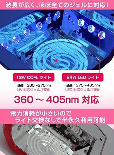 【1円】LEDライト36W ネイルドライヤー ジェルネイルライト レジン 自動センサー搭載 タイマー付きハイパワー 硬化ライト レッド _画像4