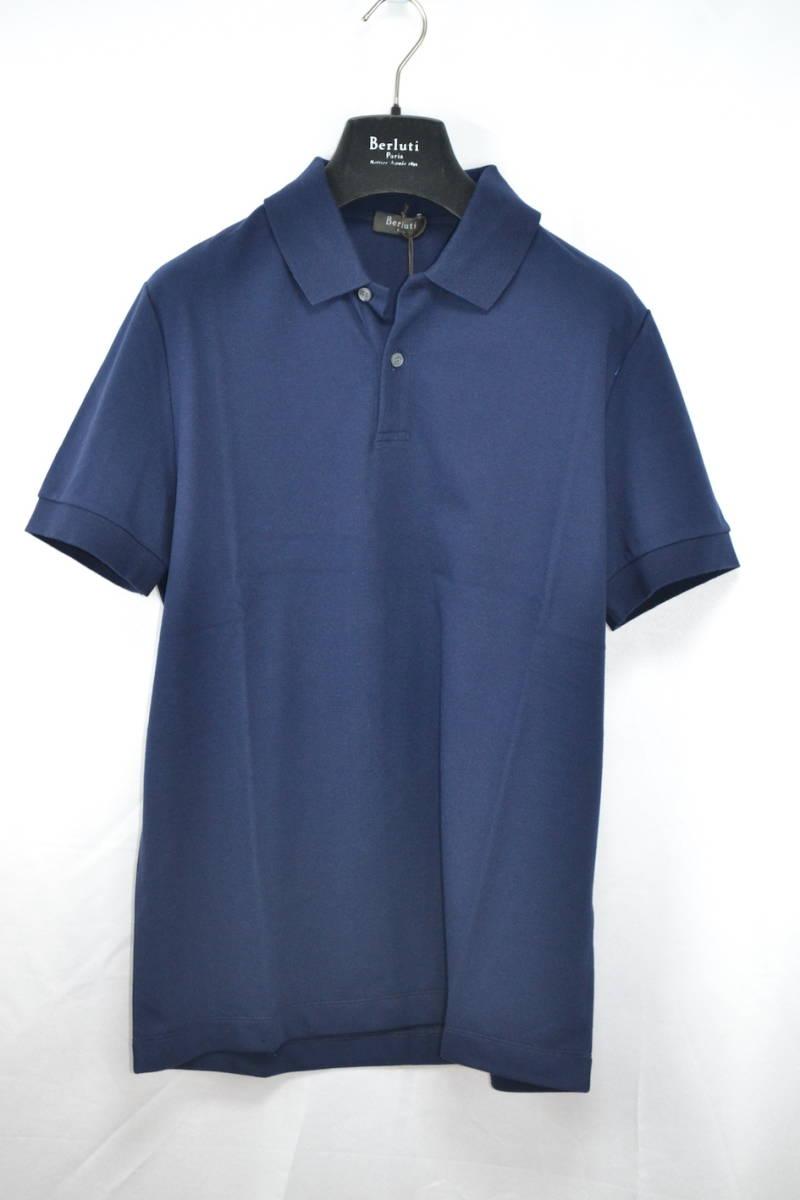 【未使用】19SS Berluti ベルルッティ ポロシャツ ネイビー M コットン100% レザーディテール カリグラフィ パティーヌ Tシャツ