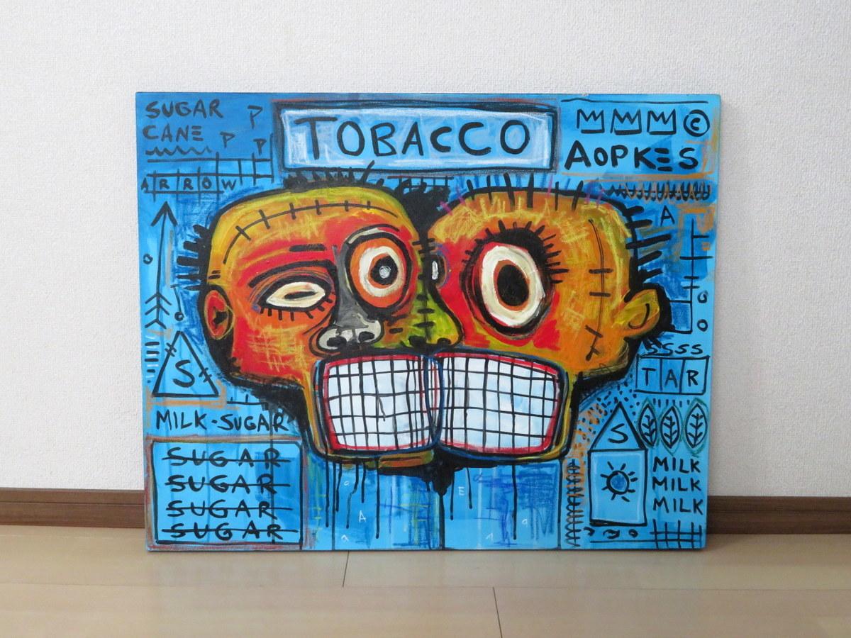 ジャン=ミシェル・バスキア Jean-Michel Basquiat 1983年 TOBACCO タバコ 特大 オイルキャンバス 直筆肉筆油彩画 裏面にサインあり 模写