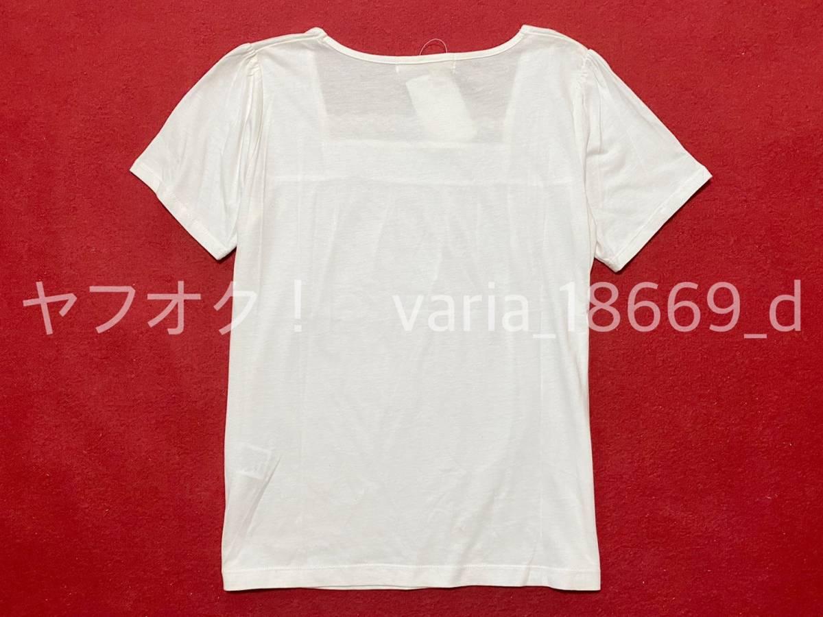 送料無料 Tシャツ トップス 白 ホワイト 半袖 L★新品 未使用品 タグ付き レース はしごレース リボン レディース カットソー チュニック