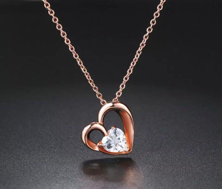 新品 AAA+ CZダイヤモンド ハートネックレス ピンクゴールド 18kgp 抗アレルギー ダイヤモンドネックレス 高品質 送料無料_画像1