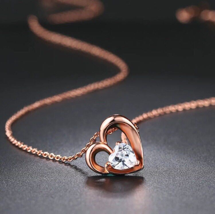新品 AAA+ CZダイヤモンド ハートネックレス ピンクゴールド 18kgp 抗アレルギー ダイヤモンドネックレス 高品質 送料無料_画像5