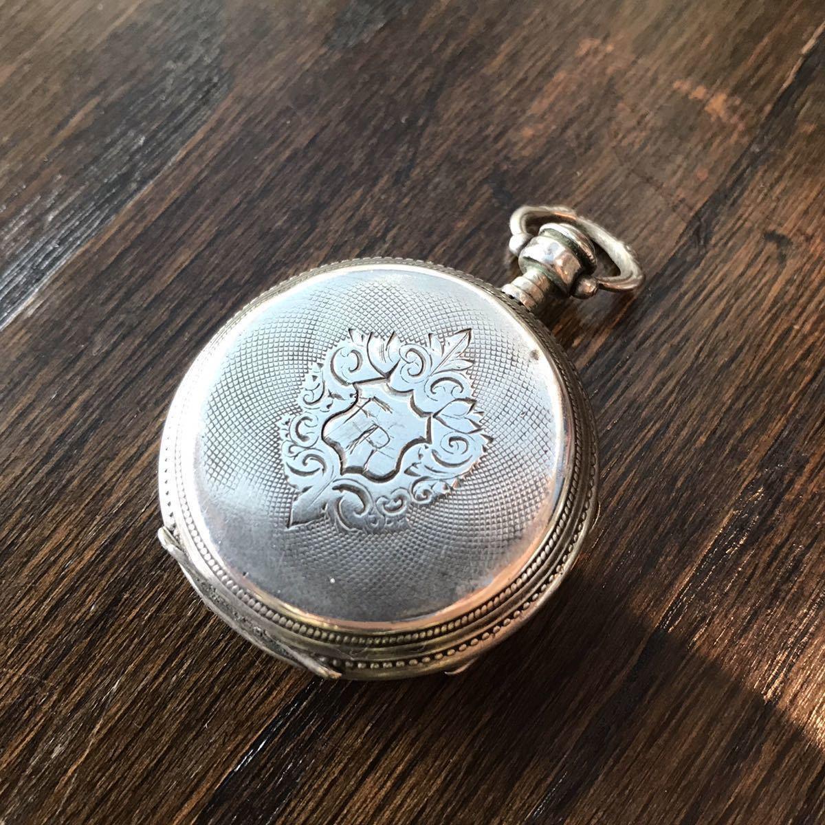 美麗ケース!銀無垢懐中時計⑥ 鍵巻 可動品_画像5