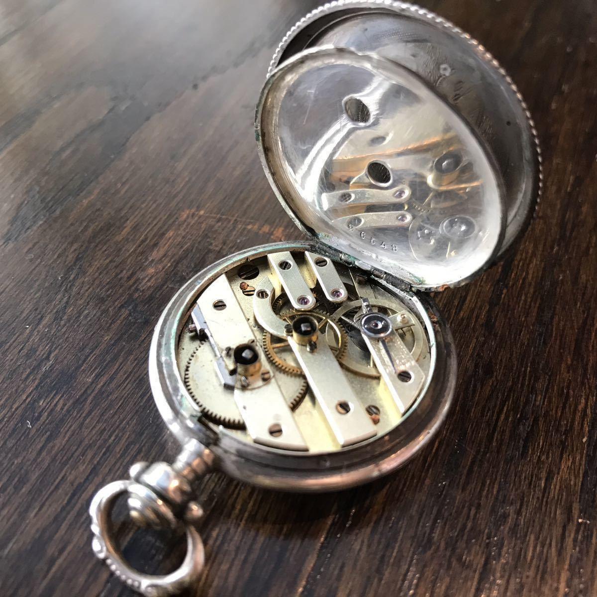 美麗ケース!銀無垢懐中時計⑥ 鍵巻 可動品_画像3
