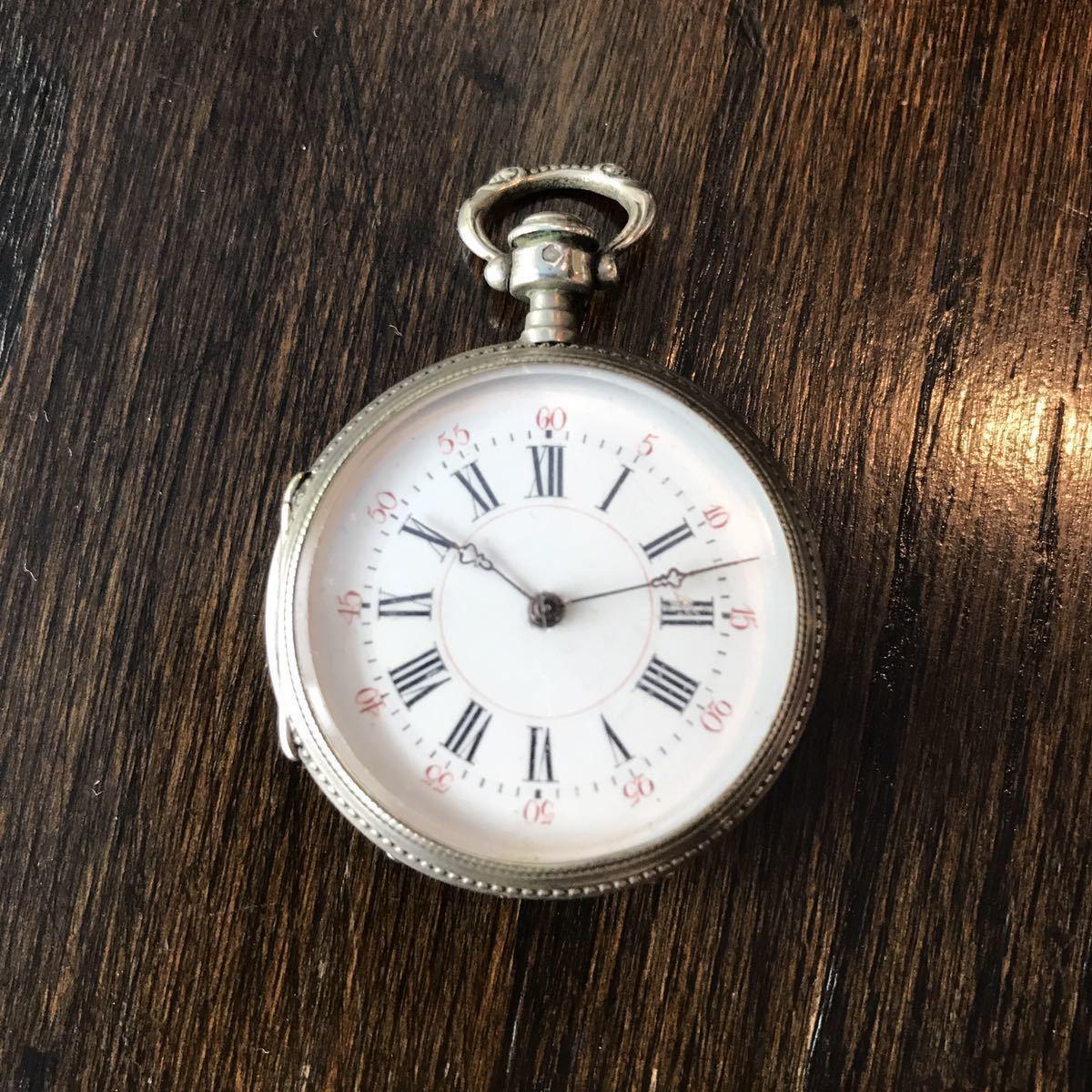 美麗ケース!銀無垢懐中時計⑥ 鍵巻 可動品_画像1