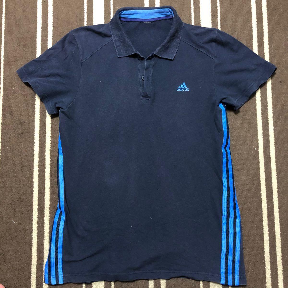 アディダス ポロシャツ ネイビー×ブルー 綿95%,ポリウレタン5%