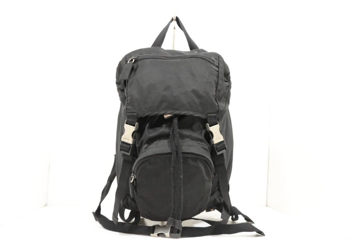 本物保証|プラダ PRADA マウンテン リュック ミニ バックパック デイバッグ ナイロン ブラック 三角 プレート ロゴ