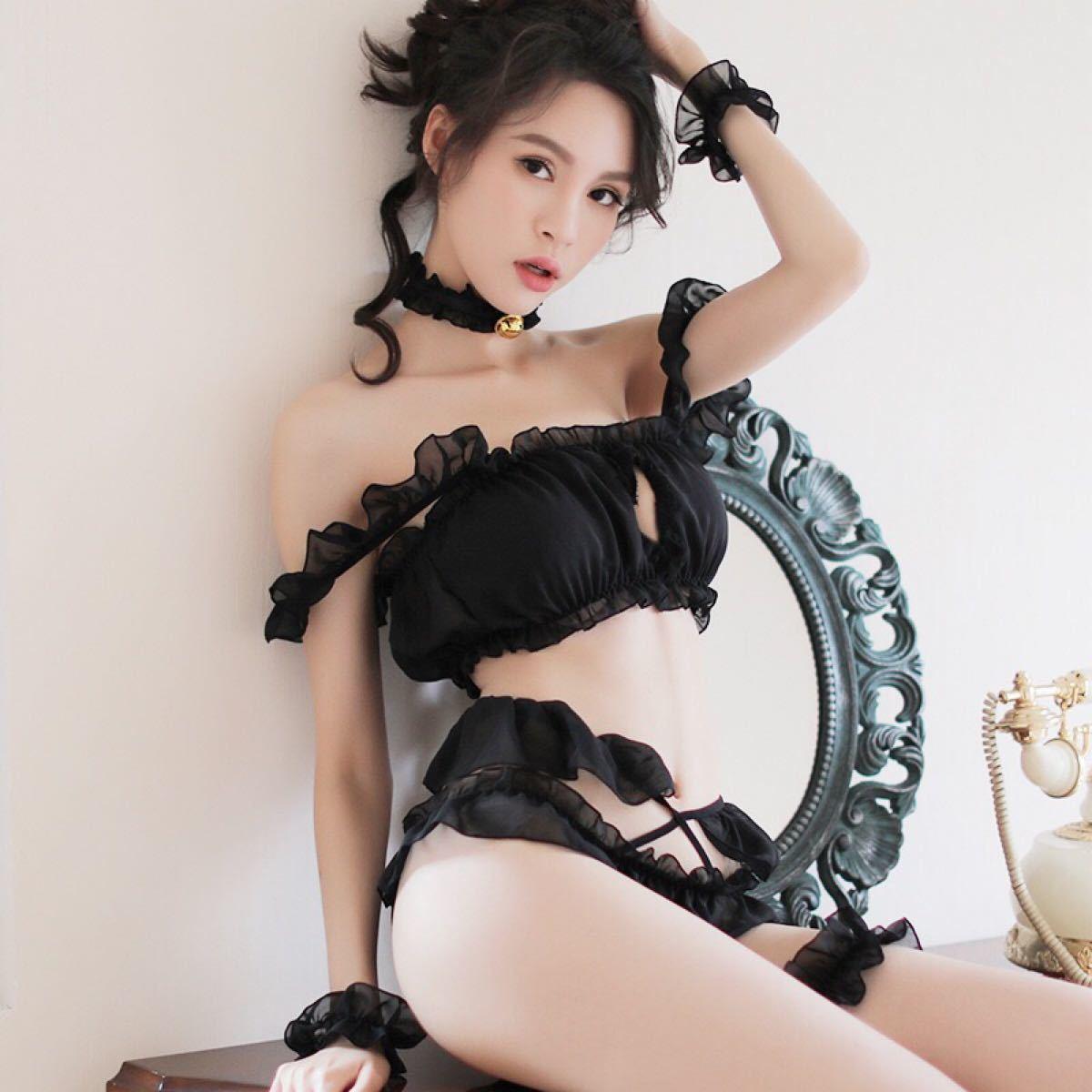 胸ハート可愛いセクシー猫コスプレ ランジェリーお得6点セット